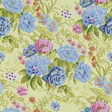 Vector wallpaper. Blue and pink flowers. floral seamless  wallpaper Royalty Free Stock Photos