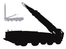 Vector warfare. Military silhouettes. Vector tactical ballistic missile launcher Royalty Free Stock Photo