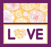 Vector warm day flowers love text frame pattern Royalty Free Stock Image