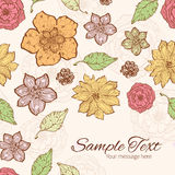 Vector warm fall lineart flowers frame corner Royalty Free Stock Photography
