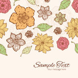 Vector warm fall lineart flowers horizontal border Royalty Free Stock Images