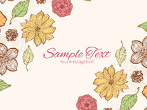 Vector warm fall lineart flowers horizontal double Royalty Free Stock Photos
