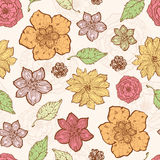 Vector warm fall lineart flowers seamless pattern Royalty Free Stock Photography