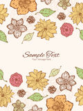 Vector warm fall lineart flowers vertical double Stock Photo