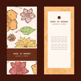 Vector warm fall lineart flowers vertical frame Royalty Free Stock Image
