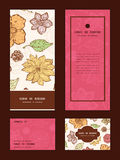Vector warm fall lineart flowers vertical frame Stock Photos