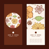 Vector warm fall lineart flowers vertical round Royalty Free Stock Photo