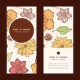 Vector warm fall lineart flowers vertical round Stock Photo