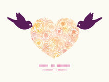Vector warm flowers birds holding heart silhouette. Frame pattern invitation greeting card template graphic design Stock Photos