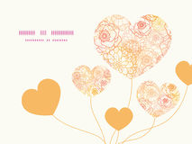 Vector warm flowers heart symbol frame pattern Stock Photo