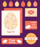 Vector warm flowers set of Easter cards, labels Royalty Free Stock Image