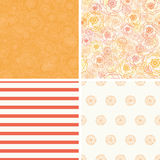 Vector Warm Flowers Set of Four Matching Repeat Royalty Free Stock Images