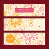 Vector warm stars horizontal banners set pattern Royalty Free Stock Image