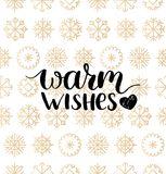 Vector Warm Wishes lettering design on snowflakes background. Christmas or New Year seamless pattern. Vector Warm Wishes lettering design on snowflakes Royalty Free Stock Image