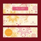Vector warme sterren horizontale banners geplaatst patroon Royalty-vrije Stock Afbeelding
