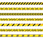 Vector Warn Ribbons Set, Yellow and Black Colored Design Elements, Warning, Caution Signs. vector illustration