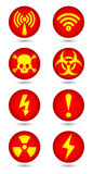Vector warning, signal symbol and radiation sign Royalty Free Stock Photography
