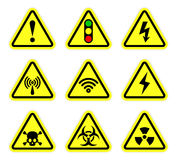 Vector warning, signal symbol and radiation sign Royalty Free Stock Images