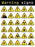 Vector warning signs. Thirty vector warning and caution signs Royalty Free Stock Photos