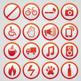 Vector warning signs with red icons Royalty Free Stock Images