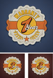 Vector warranty term fabric badge. Detailed icon representing fabric badge with embroidered warranty terms Stock Photography
