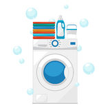 Vector Washing machine and wash clothes illustration Stock Image