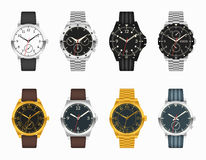 Vector watch set. Expensive classic watches. Vector watch set. Expensive classic clock with leather and metal straps illustration Royalty Free Stock Photography