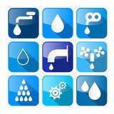 Vector Water Buttons - Symbols - Icons Set Royalty Free Stock Photos