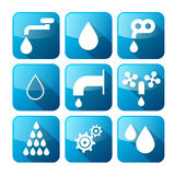 Vector Water Buttons - Symbols - Icons Set Royalty Free Stock Photo