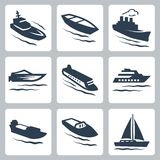 Vector water crafts icons set Stock Photo