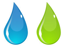 Vector water drop. Two vector water drops with flashes. Blue and green Stock Images