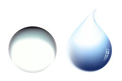 Vector water drop. Two water drops, realistic  illustration Royalty Free Stock Photos