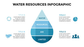 Vector water drop eco infographic. Ecology diagram, flower graph, presentation, chart. Organic nature concept with 4. Layout for your options or steps. Abstract Stock Photo