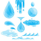 Vector water drops and splashes pack Stock Images