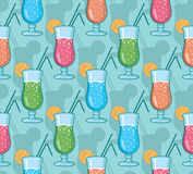 Vector water glasses line art seamless pattern background with hand drawn elements Royalty Free Stock Photos