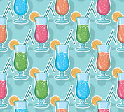 Vector water glasses line art seamless pattern background with hand drawn elements Stock Photo