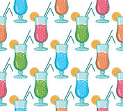 Vector water glasses line art seamless pattern background with hand drawn elements Royalty Free Stock Photo