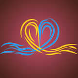 Vector water heart. On a red background Royalty Free Stock Photo