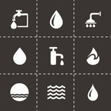 Vector water icons set. On black background royalty free illustration