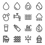 Vector water icons set on white background. Black. Vector illustration royalty free illustration