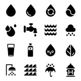 Vector water icons set on white background. Black. Vector illustration vector illustration
