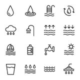 Vector water icons set on white background. Black. Vector illustration Royalty Free Stock Photos