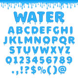 Vector water latin alphabet. Fresh water latin alphabet, abc. Set of vector letters with splash of blue liquid or clear aqua. Numbers and symbols  on white Stock Photo