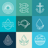 Vector water line icons and logos Royalty Free Stock Image