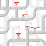 Vector Water Piping System Seamless pattern grey color Stock Photos
