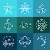 Vector water, sea line icons and logos Royalty Free Stock Photos