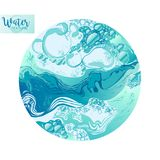 Vector Water splash texture. Water splash in blue color bubbles abstract circle background hand-drawn vector illustration. Water business card template or gift royalty free illustration