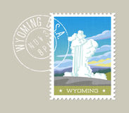 Vector of water and steam erupting from geyser. Wyoming. Wyoming postage stamp design. Vector illustration of water and steam erupting from geyser. Grunge Royalty Free Stock Photo