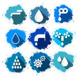Vector Water Symbols - Icons Splash Set Stock Photos
