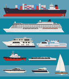 Vector water transport infographics. Vector water transport. Cargo ships, cruise ships, tug boats, yachts Royalty Free Stock Images